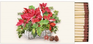 Ambiente, zapałki - Poinsettia in Basket
