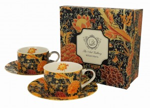Duo Porcelana, filiżanki ze spodkiami 240 ml komplet 2 szt. CRAY FLORAL William Morris