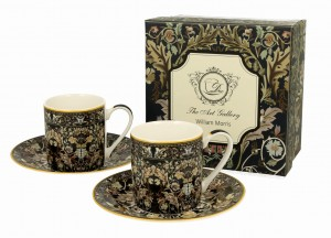 Filiżanki espresso ze spodkiami 90 ml komplet 2 szt. Acanthus Leaves William Morris