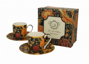 Duo Porcelana, filiżanki espresso ze spodkiami 90 ml komplet 2 szt. CRAY FLORAL William Morris