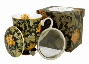 Duo Porcelana, kubek 325 ml z zaparzaczem CHRYSANTHEMUM William Morris