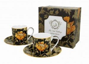 Duo Porcelana, filiżanki espresso ze spodkiami 90 ml komplet 2 szt. CHRYSANTHEMUM William Morris