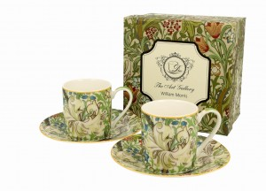 Duo Porcelana, filiżanki espresso ze spodkiami 90 ml komplet 2 szt. GOLDEN LILY William Morris