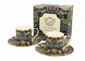 Duo Porcelana, filiżanki espresso ze spodkiami 90 ml komplet 2 szt. STRAWBERRY THIEF William Morris