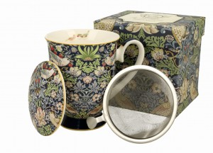 Duo Porcelana, kubek 275 ml z zaparzaczem STRAWBERRY THIEF William Morris
